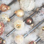 DIY: 8 x Christmas Ornaments - Vintage Newspaper, Fake Temporary Tattoos, Pearls, Subtile Snow, Glitters, Petals, Let It Snow & Mirror Stones